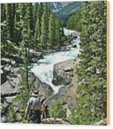 Hiking In Mistaya Canyon Along Icefield Parkway In Alberta Wood Print