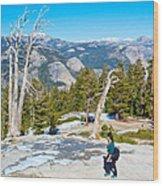 Hiking On Barren Rock On Sentinel Dome In Yosemite Np-ca Wood Print