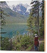 Hiking On Emerald Lake Trail In Yoho Np-bc Wood Print
