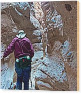 Hiking Through Narrow Slot Of Ladder Canyon Trail In Mecca Hills-ca Wood Print