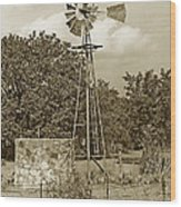 Hill Country Windmill Wood Print