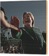 Hillary Clinton Campaigns In North Wood Print
