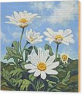 Hills And White Daisies Wood Print by James Derieg