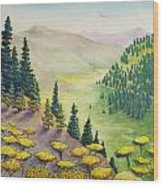 Hillside Of Yarrow Flowers With Pine Tress Wood Print