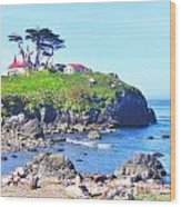 Hilltop Lighthouse Wood Print