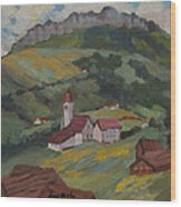 Hilltop Village Switzerland Wood Print