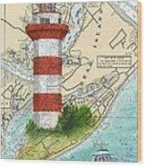 Hilton Head Island Lighthouse Sc Nautical Chart Map Art Cathy Peek Wood Print
