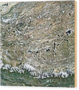 Himalaya Mountains Asia True Colour Satellite Image  Wood Print