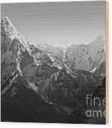 Himalaya Mountains Black And White Wood Print