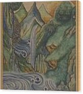 Himalayan Landscape With Turbulent Water Wood Print