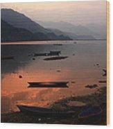 Phewa Lake, Pokhara, Nepal Wood Print