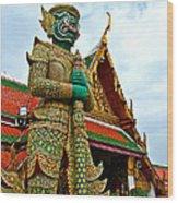 Hindu Figure At Grand Palace Of Thailand In Bangkok Wood Print