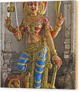 Hindu Goddess Durga On Lion Wood Print