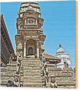 Hindu Temples In Bhaktapur Durbar Square In Bhaktapur-nepal Wood Print