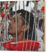 Hindu Thaipusam Festival Pierced Devotee In Singapore Wood Print