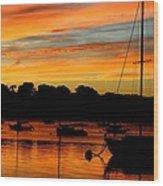 Hingham Sunset And Sailboats Wood Print