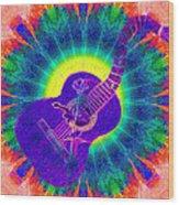 Hippie Guitar Wood Print