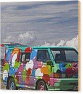 Hippie Man Van Wood Print