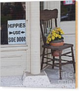 Hippies Use Side Door Wood Print by Louise Heusinkveld