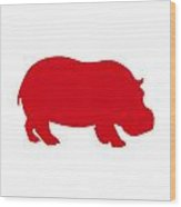 Hippo In Red And White Wood Print