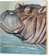 Hippo Lisa Wood Print