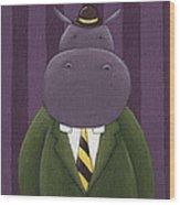 Hippo Nursery Art Wood Print by Christy Beckwith