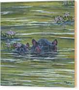 Hippos And Hyacinths Wood Print