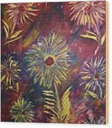 Hippy Flowers Wood Print