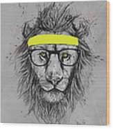 Hipster Lion Wood Print