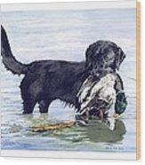 His First Catch Wood Print by Brenda Beck Fisher