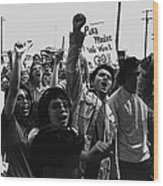 Hispanic Anti-viet Nam War Rally Tucson Arizona 1971 Black And White Wood Print