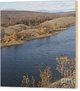 Historic Alaska Gold Dredge In Fall Wood Print