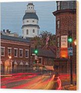 Historic Annapolis And Evening Traffic I Wood Print