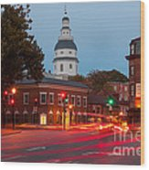 Historic Annapolis And Evening Traffic II Wood Print