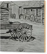 Historic Cabins Cody Wyoming Wood Print by Lucy Deane
