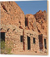 Historic Civilian Conservation Corps Stone Cabins In The Valley Of Fire Wood Print