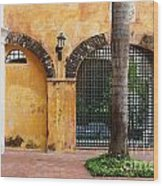 Historic Colonial Courtyard In Colombia Wood Print