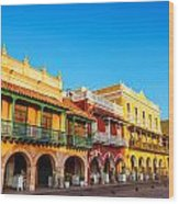 Historic Colonial Facades Wood Print