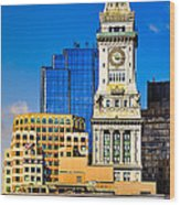 Historic Custom House Clock Tower - Boston Skyline Wood Print by Mark E Tisdale