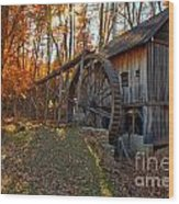 Historic Grist Mill With Fall Foliage Wood Print