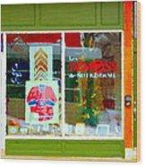 Historic Habs Hockey Jersey St Henri Storefront Les Demons De Notre Dame Montreal Art Carole Spandau Wood Print