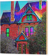 Historic House Pop Art Wood Print
