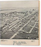 Historic Map Of Plano Texas 1891 Wood Print