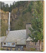Historic Multnomah Falls Lodge Wood Print