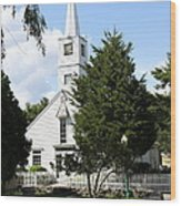 Historic Mystic Church - Connecticut Wood Print