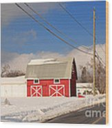 Historic Red Barn On A Snowy Winter Day Wood Print