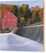 Historic Red Mill At Fall Clinton New Jersey Wood Print