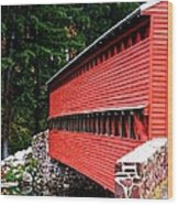 Historic Sach's Covered Bridge Wood Print