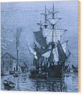Historic Seaport Blue Schooner Wood Print