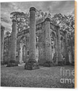 Historic Sheldon Church 4 Bw Wood Print